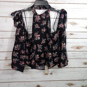 Mustard Seed Black Floral Halter Crop Blouse Small